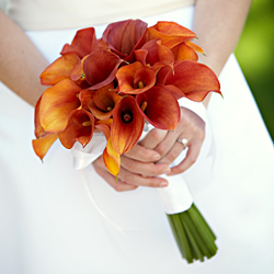 mango calla bridal bouquet