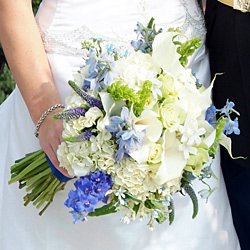 perla farms bridal bouquet white and blue